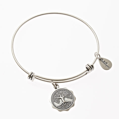 Tree of Life Expandable Bangle Charm Bracelet in Silver