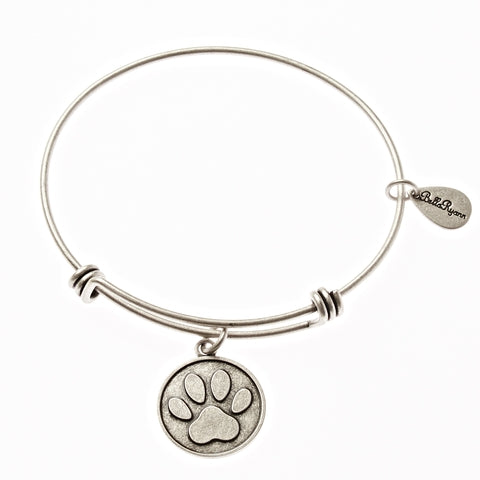 Dog Paw Print Expandable Bangle Charm Bracelet in Silver - BellaRyann
