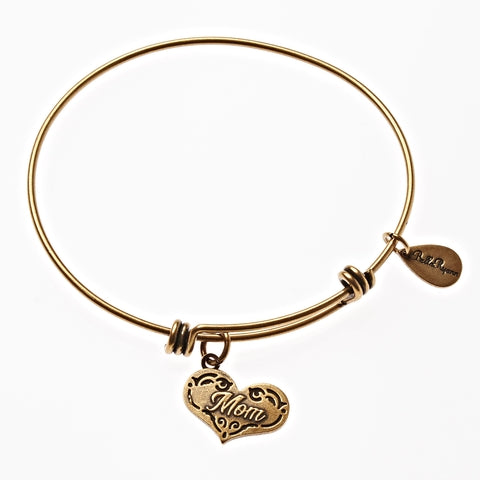 Mom Expandable Bangle Charm Bracelet in Gold