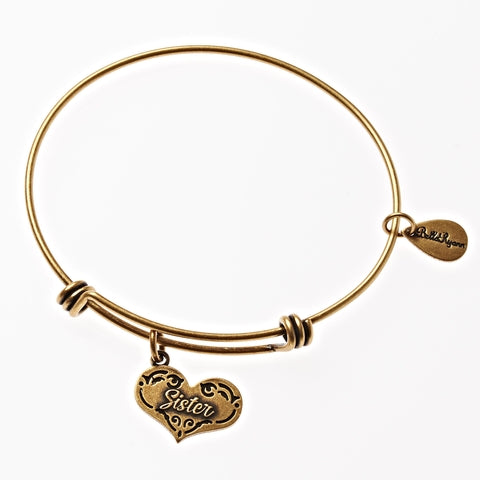 Sister Expandable Bangle Charm Bracelet in Gold