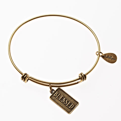 Blessed Expandable Bangle Charm Bracelet in Gold - BellaRyann