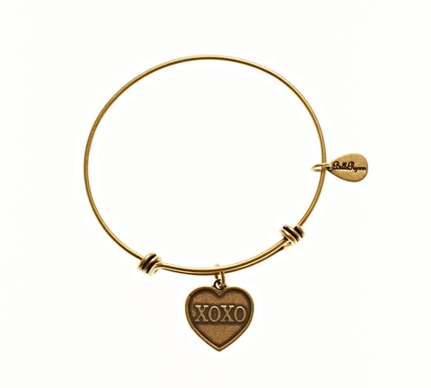 XOXO Expandable Bangle Charm Bracelet in Gold - BellaRyann