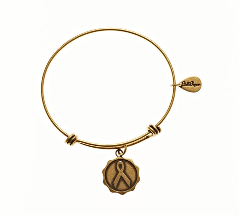 Awareness Ribbon Expandable Bangle Charm Bracelet in Gold - BellaRyann