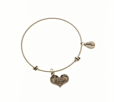 Mom Expandable Bangle Charm Bracelet in Silver
