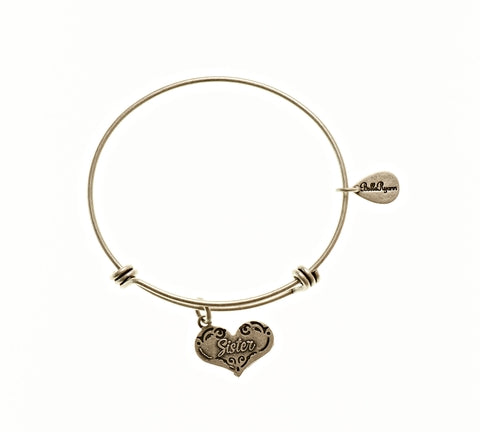 Sister Expandable Bangle Charm Bracelet in Silver