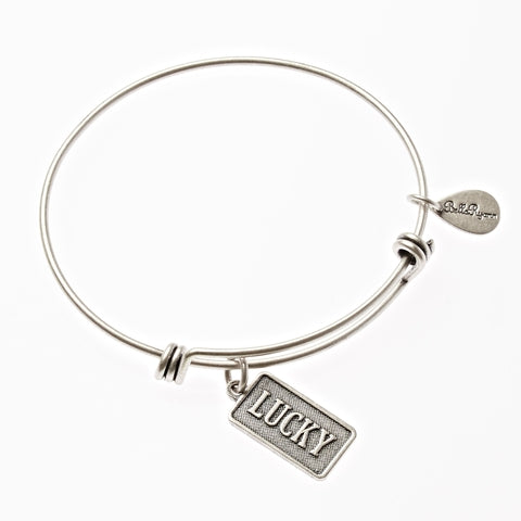 Lucky Expandable Bangle Charm Bracelet in Silver