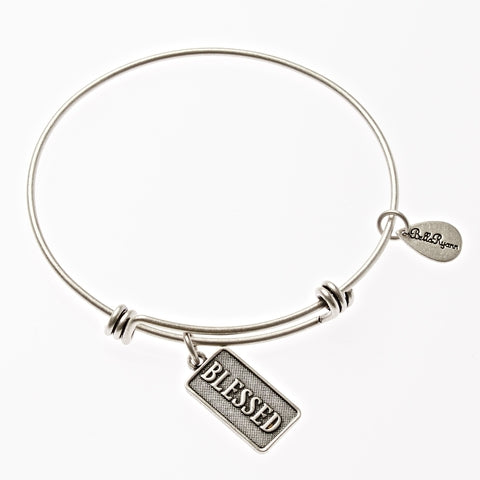 Blessed Expandable Bangle Charm Bracelet in Silver - BellaRyann