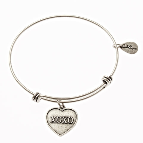 XOXO Expandable Bangle Charm Bracelet in Silver - BellaRyann