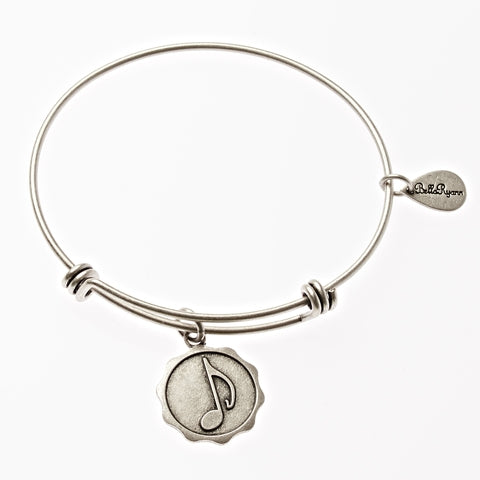 Music Note Expandable Bangle Charm Bracelet in Silver