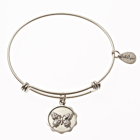 Butterfly Expandable Bangle Charm Bracelet in Silver - BellaRyann