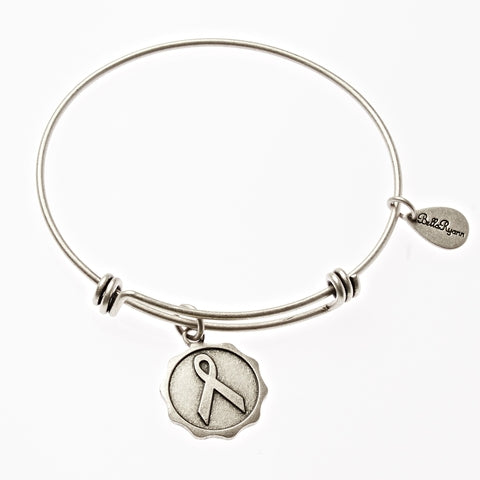 Awareness Ribbon Expandable Bangle Charm Bracelet in Silver - BellaRyann