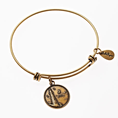 Lighthouse Expandable Bangle Charm Bracelet in Gold