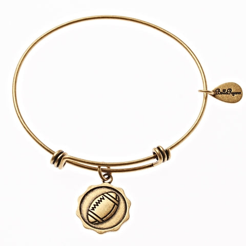 Football Expandable Bangle Charm Bracelet in Gold - BellaRyann