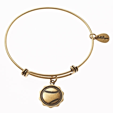 Baseball Expandable Bangle Charm Bracelet in Gold - BellaRyann