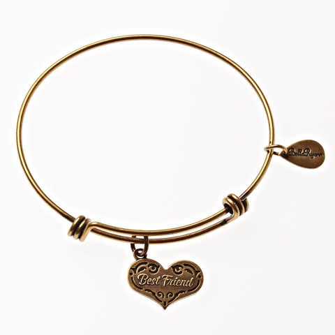Best Friend Expandable Bangle Charm Bracelet in Gold - BellaRyann