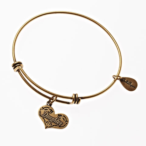 Daughter Expandable Bangle Charm Bracelet in Gold - BellaRyann