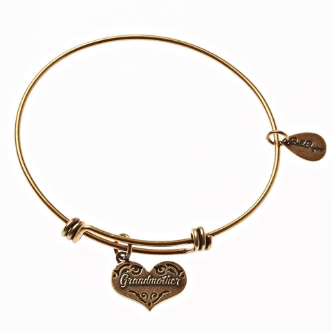 Grandmother Expandable Bangle Charm Bracelet in Gold - BellaRyann
