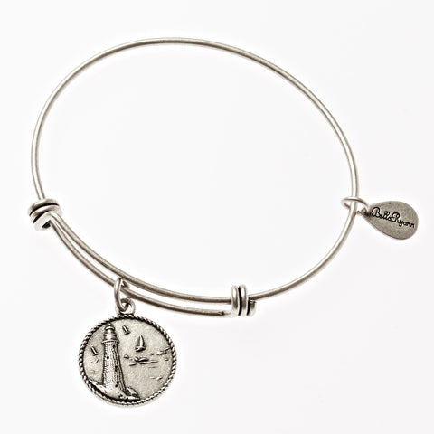 Lighthouse Expandable Bangle Charm Bracelet in Silver