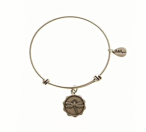Dragonfly Expandable Bangle Charm Bracelet in Silver - BellaRyann