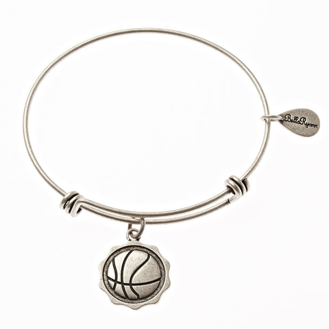 Basketball Expandable Bangle Charm Bracelet in Silver - BellaRyann