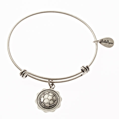 Soccer Ball Expandable Bangle Charm Bracelet in Silver