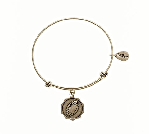 Football Expandable Bangle Charm Bracelet in Silver - BellaRyann