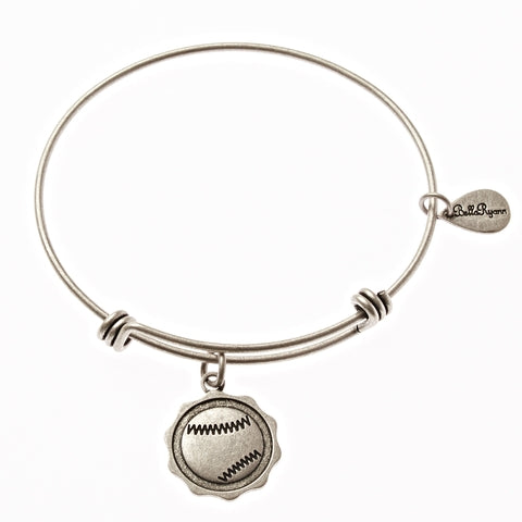 Baseball Expandable Bangle Charm Bracelet in Silver - BellaRyann