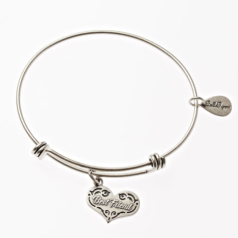Best Friend Expandable Bangle Charm Bracelet in Silver - BellaRyann