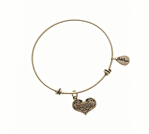 Daughter Expandable Bangle Charm Bracelet in Silver - BellaRyann