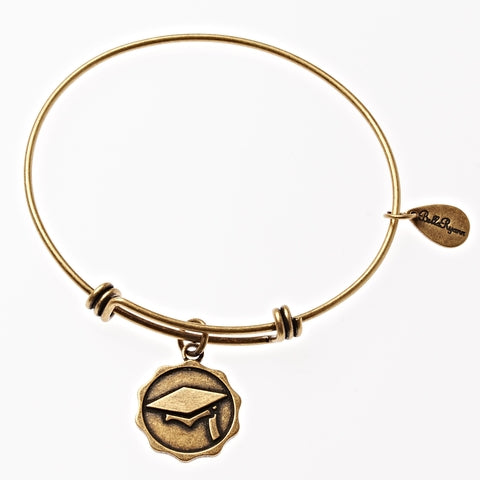 Graduation Cap Expandable Bangle Charm Bracelet in Gold - BellaRyann