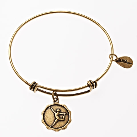 Dancer Gymnast Silhouette Expandable Bangle Charm Bracelet in Gold - BellaRyann