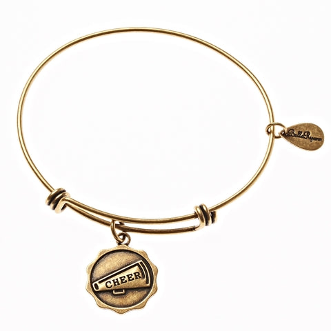Cheer Megaphone Expandable Bangle Charm Bracelet in Gold - BellaRyann