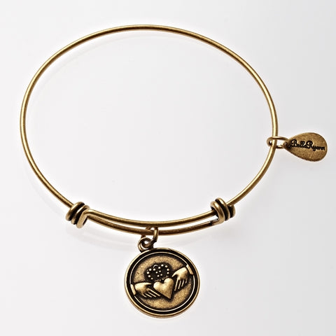Claddagh Expandable Bangle Charm Bracelet in Gold - BellaRyann