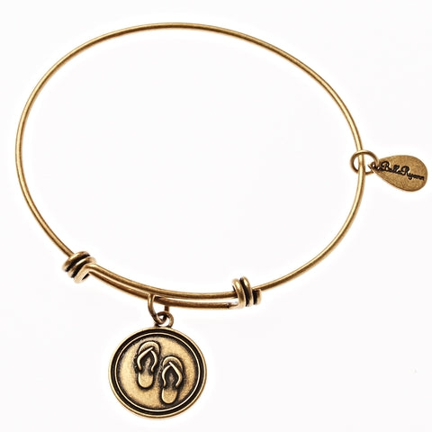 Flip Flops Expandable Bangle Charm Bracelet in Gold - BellaRyann
