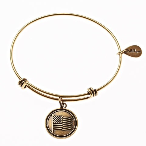 American Flag Expandable Bangle Charm Bracelet in Gold - BellaRyann