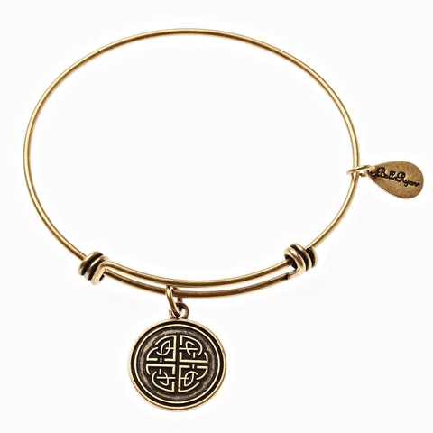 Celtic Love Knot Expandable Bangle Charm Bracelet in Gold - BellaRyann