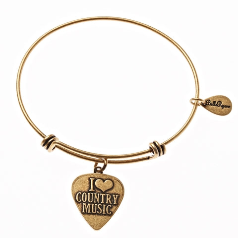 I Love Country Music Expandable Bangle Charm Bracelet in Gold - BellaRyann