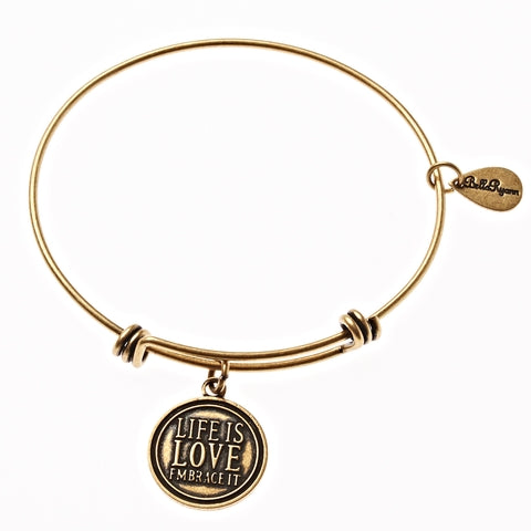 Life Is Love Embrace It Expandable Bangle Charm Bracelet in Gold - BellaRyann