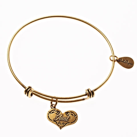Aunt Expandable Bangle Charm Bracelet in Gold - BellaRyann