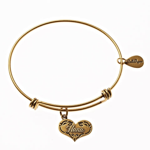 Nana Expandable Bangle Charm Bracelet in Gold