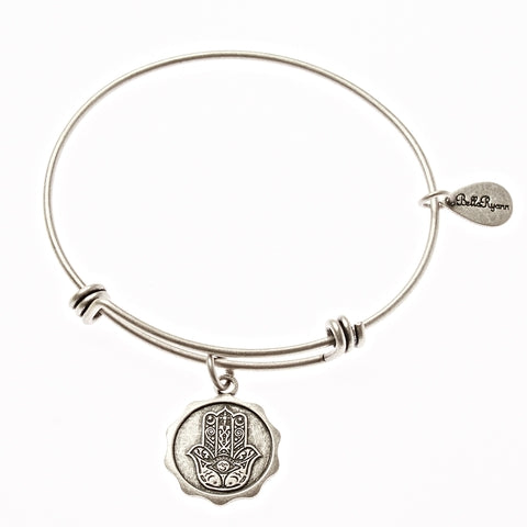 Hamsa Expandable Bangle Charm Bracelet in Silver - BellaRyann