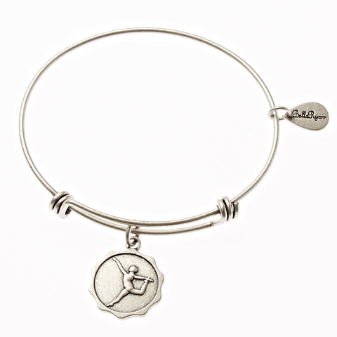 Dancer Gymnast Silhouette Expandable Bangle Charm Bracelet in Silver - BellaRyann