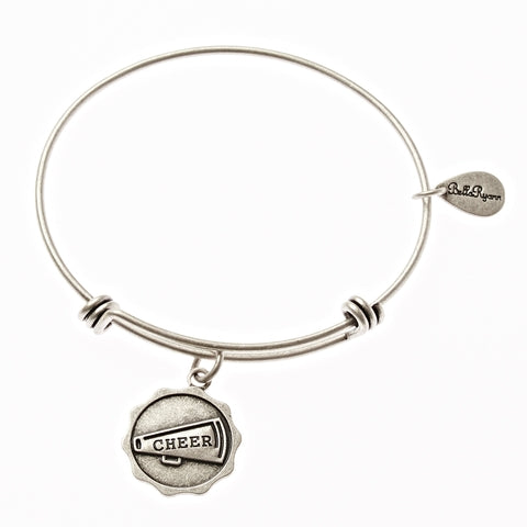 Cheer Megaphone Expandable Bangle Charm Bracelet in Silver - BellaRyann