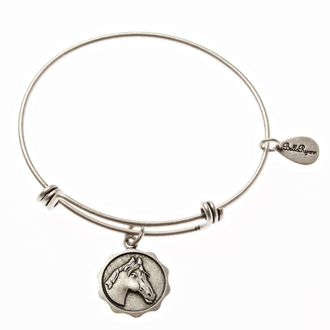 Horse Expandable Bangle Charm Bracelet in Silver - BellaRyann