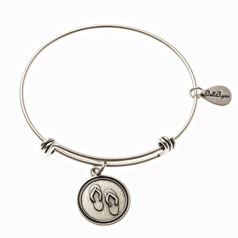 Flip Flops Expandable Bangle Charm Bracelet in Silver - BellaRyann