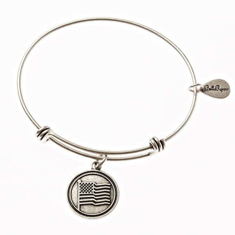 American Flag Expandable Bangle Charm Bracelet in Silver - BellaRyann