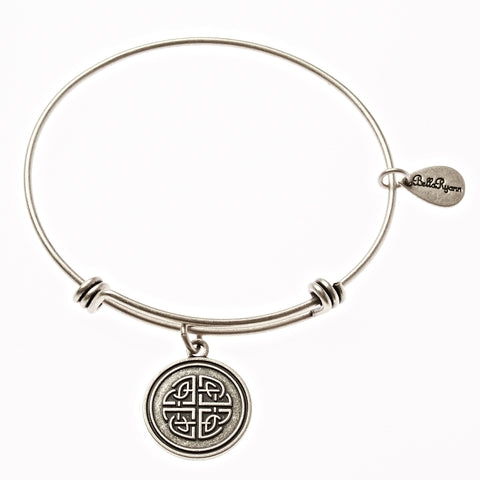 Celtic Love Knot Expandable Bangle Charm Bracelet in Silver - BellaRyann