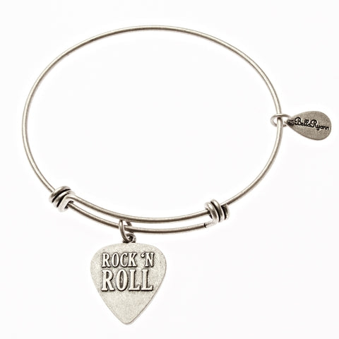 Rock 'N Roll Expandable Bangle Charm Bracelet in Silver