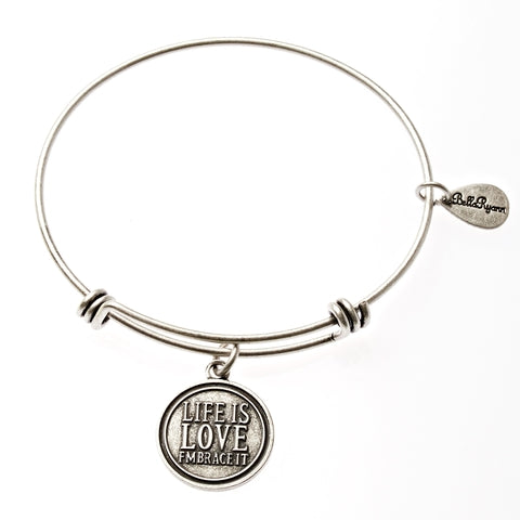 Life Is Love Embrace It Expandable Bangle Charm Bracelet in Silver