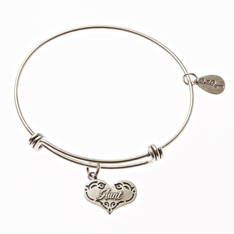 Aunt Expandable Bangle Charm Bracelet in Silver - BellaRyann
